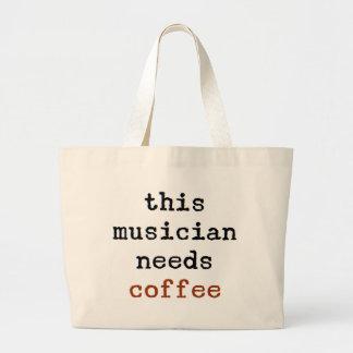 Musiker benötigt Kaffee Jumbo Stoffbeutel