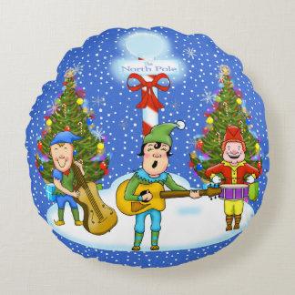 Musiker-Elf-Weihnachtskissen Rundes Kissen