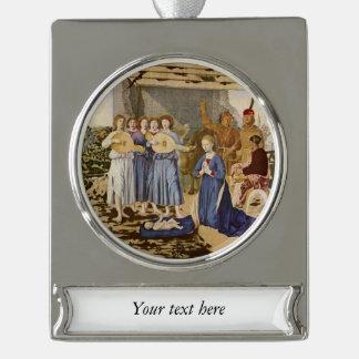 Musiker-Spiel-Mandolinen für Baby Jesus Banner-Ornament Silber