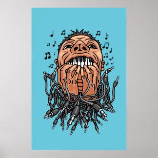 Musiker spielt auf seinen Zähnen wie auf Tastatur Poster