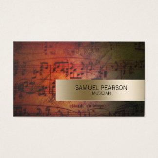 Musikergrunge-Musiknoten-Goldstreifen-Musik Visitenkarte