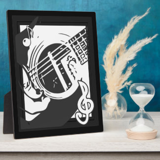 Musikfreund-Gitarren-Spielen Schwarzweiss Fotoplatte