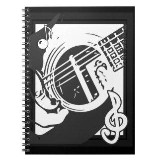 Musikfreund-Gitarren-Spielen Schwarzweiss Notizblock