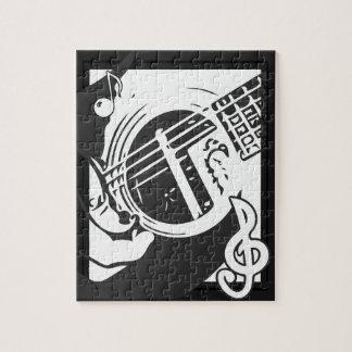 Musikfreund-Gitarren-Spielen Schwarzweiss Puzzle
