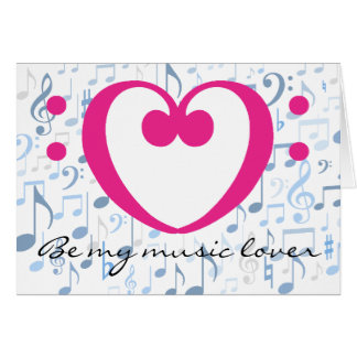 Musikfreund-rosa Valentinsgruß-Herz-Bassschlüssel Grußkarte