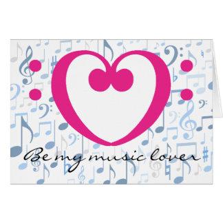 Musikfreund-rosa Valentinsgruß-Herz-Bassschlüssel Karte