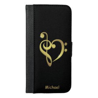 Musikherz-Liebe des dreifachen Clef und des iPhone 6/6s Plus Geldbeutel Hülle