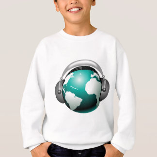 Musikillustration - Kugel mit Kopfhörer Sweatshirt