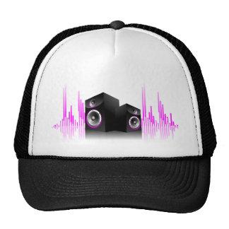 Musikillustration mit Lautsprecher und Entwurf Netzcap