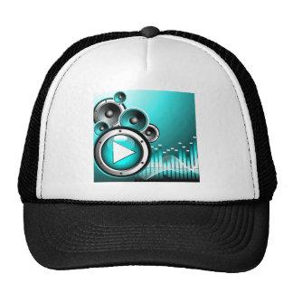 Musikillustration mit Spielknopf und -Lautsprecher Baseball Cap
