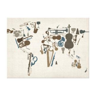 Musikinstrument-Karte der Welt Galerie Falt Leinwand