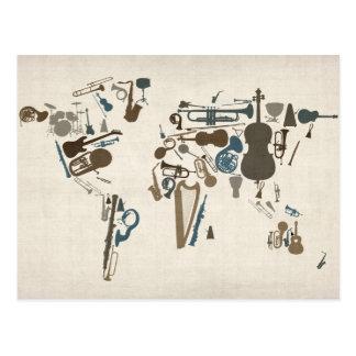 Musikinstrument-Karte der Welt Postkarten