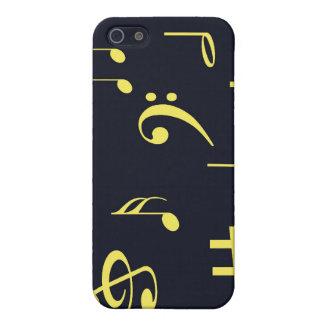 Musiknoten - Gelb auf Schwarzem iPhone 5 Etui