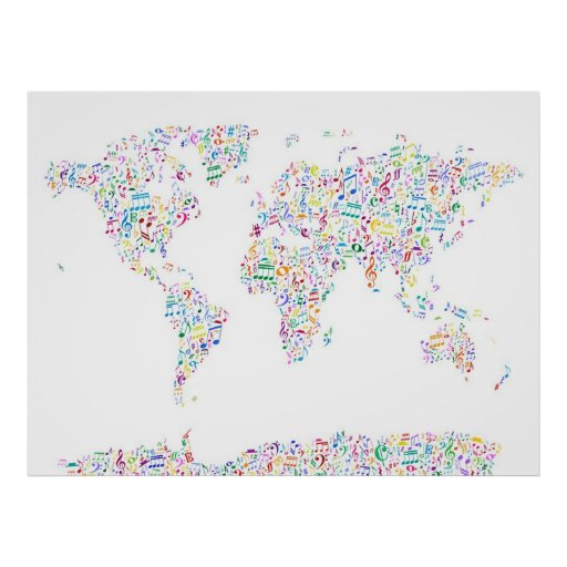 Musiknoten-Karte der Welt Poster
