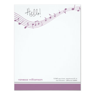 Musiknoten-kundenspezifische flache 10,8 x 14 cm einladungskarte