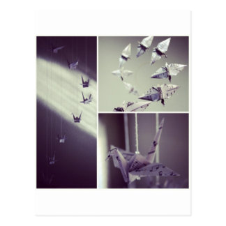 Musiknoten Origami Kran-Mobile Postkarte
