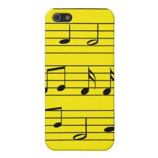 Musiknoten - Schwarzes auf Gelb iPhone 5 Cover