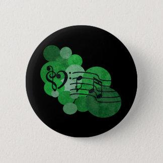 Musiknoten und Polkapunkte - hellgrün Runder Button 5,7 Cm