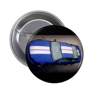 Muskel Auto Blau Knopf Runder Button 5,1 Cm