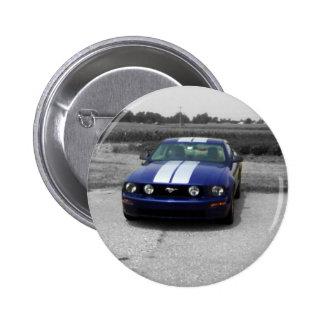 Muskelauto Blau-Knopf Runder Button 5,1 Cm