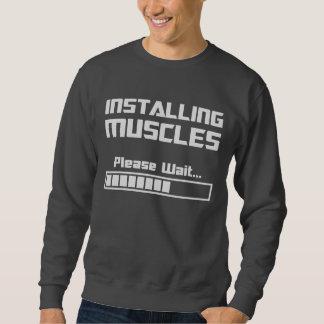 Muskeln installierend, bitte warten Laden-Bar Sweatshirt