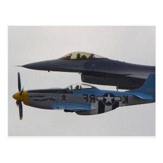 MUSTANG P-51 U.F-16 EAGLE POSTKARTE