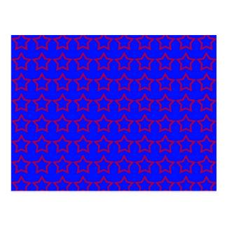Muster: Blauer Hintergrund mit roten Sternen Postkarte