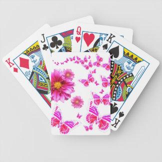 Muster das pinkfarbene rosa Weiß der Dahlie u. Bicycle Spielkarten