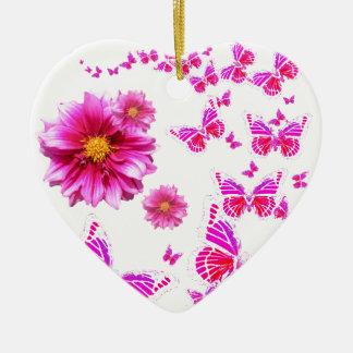 Muster das pinkfarbene rosa Weiß der Dahlie u. Keramik Herz-Ornament