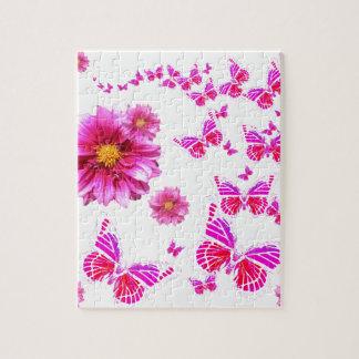 Muster das pinkfarbene rosa Weiß der Dahlie u. Puzzle