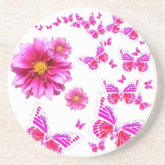 Muster das pinkfarbene rosa Weiß der Dahlie u. Sandstein Untersetzer