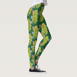 Muster der niedlichen Wanzen, die Grün-Blätter Leggings
