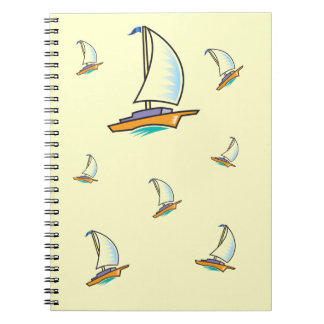 Muster der Yacht 2B Me™_logoboat_multi-boat Spiral Notizblock