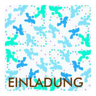 Muster des blauen Punktes des Pudels Quadratische 13,3 Cm Einladungskarte