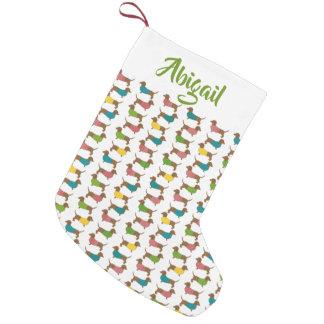 Muster des Dackel-personalisiertes Weihnachten(2 Kleiner Weihnachtsstrumpf