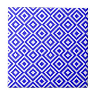 Muster des dunkelblauen und weißen Quadrat-001 Fliese
