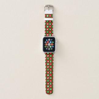 Muster des neuen Jahres. Rot, grün, weiß. 2018. Apple Watch Armband