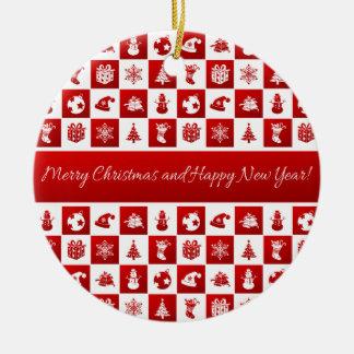 Muster des neuen Jahres. Rot und Weiß. 2018. Keramik Ornament