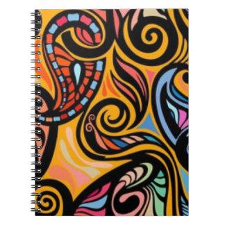 Muster-Druck-mit Blumenentwurf Paisleys bunter Spiral Notizblock