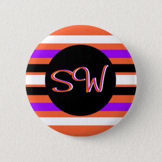 Muster in den Schwarz-weißen violetten orange Runder Button 5,7 Cm