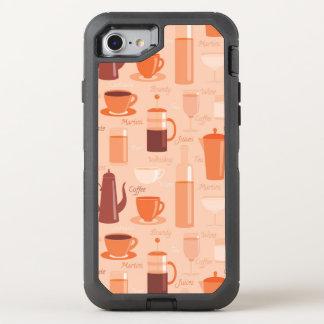 Muster mit Getränken und Text OtterBox Defender iPhone 8/7 Hülle