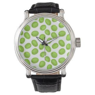 Muster mit grünen Oliven Armbanduhr