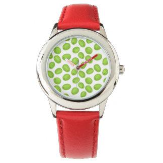 Muster mit grünen Oliven Uhr
