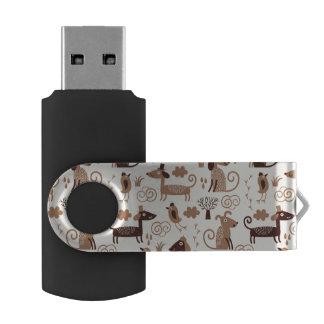 Muster mit niedlichen Hunden Swivel USB Stick 2.0
