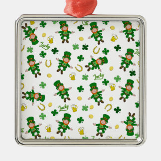 Muster St. Patricks Tages Silbernes Ornament