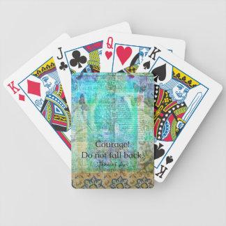 Mut fällt nicht zurück JEANNE D'ARC Zitat Bicycle Spielkarten
