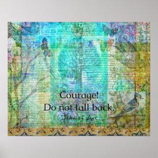 Mut fällt nicht zurück JEANNE D'ARC Zitat Poster