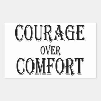 Mut über Komfort Rechteckiger Aufkleber