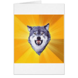 Mut-Wolf-Ratetier Meme Grußkarte