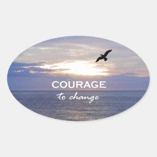 Mut zu ändern ovaler aufkleber